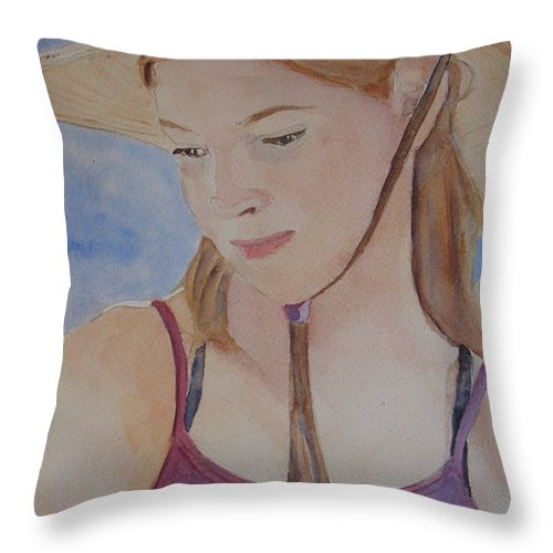 Girl Throw Pillow featuring the painting Hat And Shoulders by Jenny Armitage