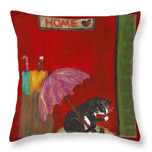 Cat Throw Pillow featuring the painting Home Cat by Reina Resto