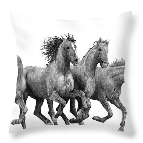 Portrait Throw Pillow featuring the drawing Horses by Bobby Shaw