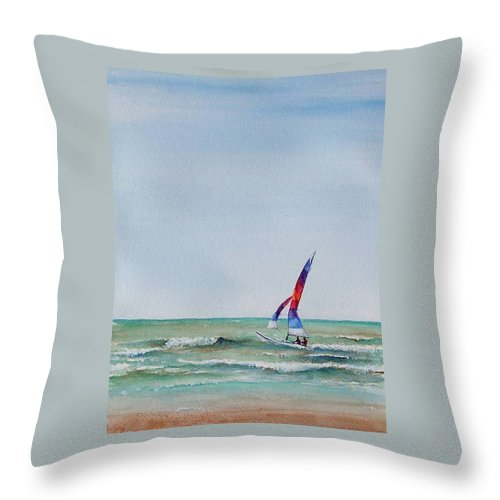 Boat Throw Pillow featuring the painting Ipperwash Beach by Patricia Henderson
