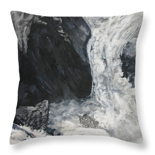 Water Throw Pillow featuring the painting Lower Vernal Black And White by Travis Day