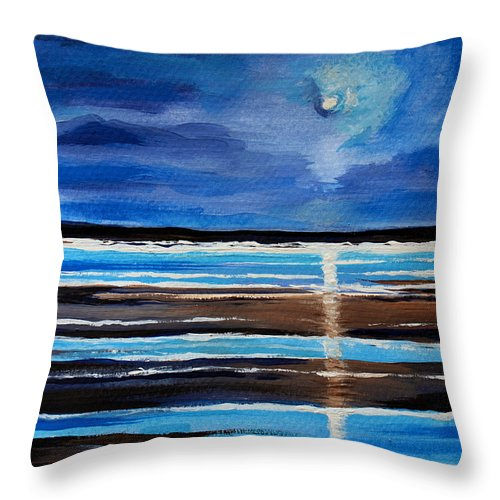 Beach Throw Pillow featuring the painting Midnight At The Beach by Elizabeth Robinette Tyndall