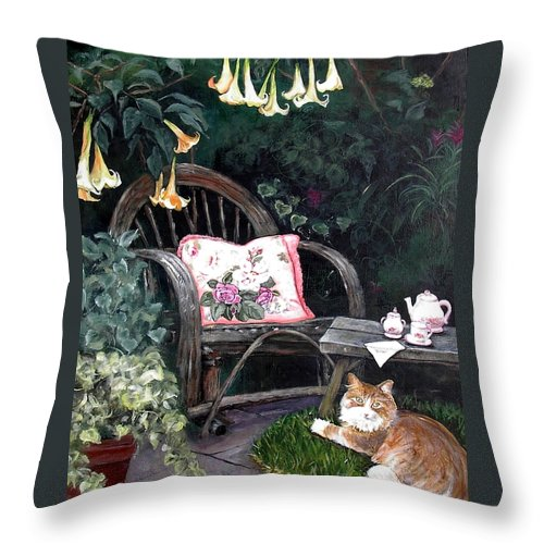 Charity Throw Pillow featuring the painting My Secret Garden by Mary-Lee Sanders