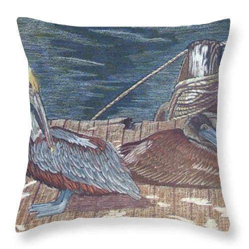 Pelican Throw Pillow featuring the painting Playing Hard-to-get by Anita Putman