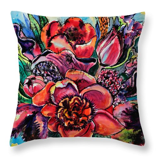 Flowers Throw Pillow featuring the painting Red Bouquet by Yelena Tylkina