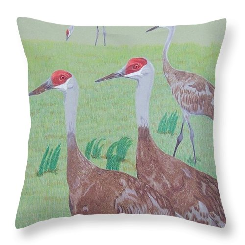 Crane Throw Pillow featuring the painting Red Heads by Anita Putman