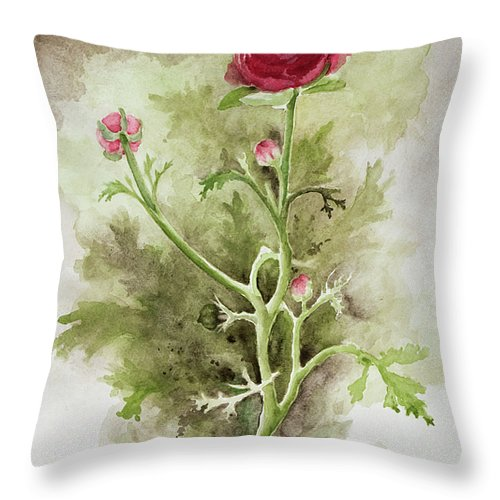 Watercolor Flower Throw Pillow featuring the painting Red Ranunculus by Kathryn Donatelli