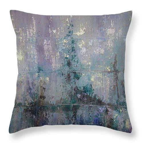 Abstract Throw Pillow featuring the painting Silver And Silent by Shadia Derbyshire