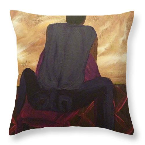 Sitting Throw Pillow featuring the painting Solitude by Joshua Redman
