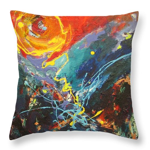 Abstract Paintings Throw Pillow featuring the painting The Narrows by Seon-Jeong Kim