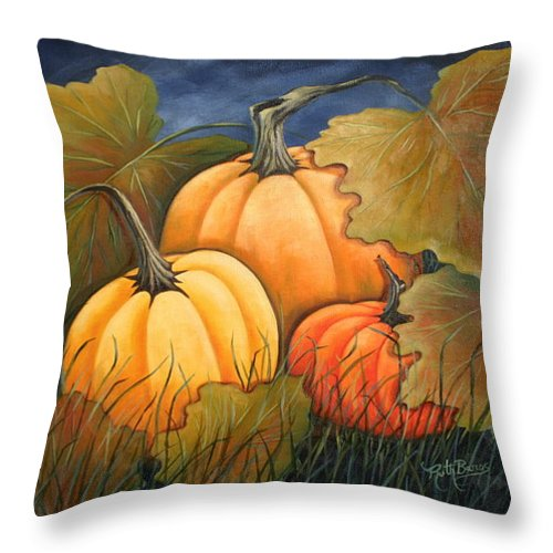Landscape Throw Pillow featuring the painting The Pumpkin Patch by Ruth Bares