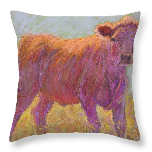 Cows Throw Pillow featuring the painting The Scout by Susan Williamson
