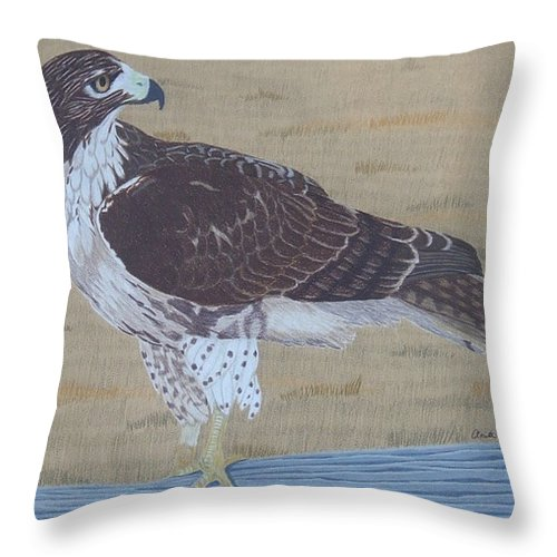 Hawk Throw Pillow featuring the painting The Sentinel by Anita Putman