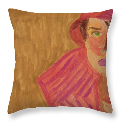 Woman Throw Pillow featuring the painting The Woman In Red by Joshua Redman
