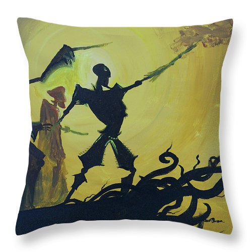 Harry Throw Pillow featuring the painting Three Brothers by Lisa Leeman