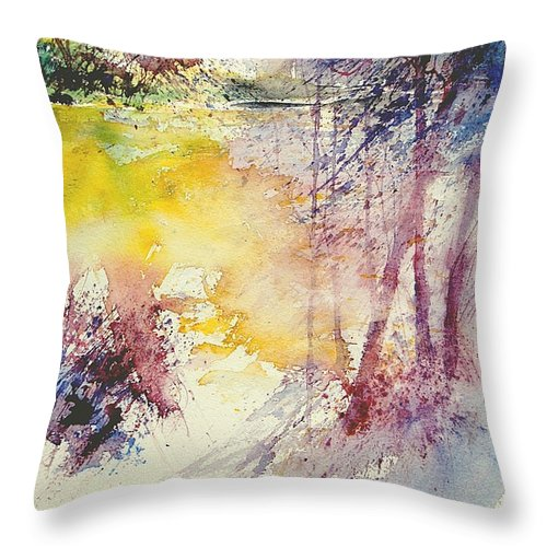 River Throw Pillow featuring the painting Watercolor 007 by Pol Ledent