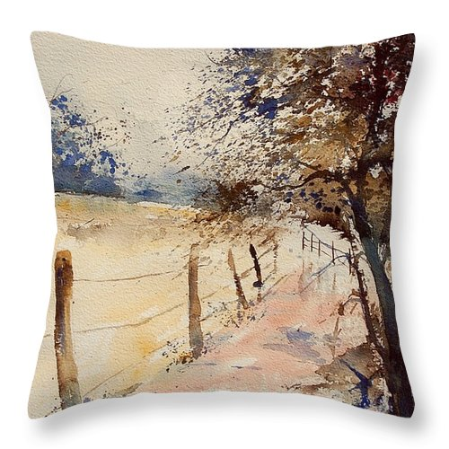 Tree Throw Pillow featuring the painting Watercolor 041106 by Pol Ledent