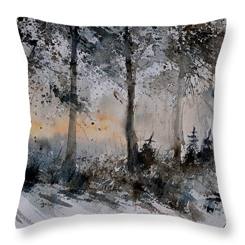 Tree Throw Pillow featuring the painting Watercolor 141206 by Pol Ledent