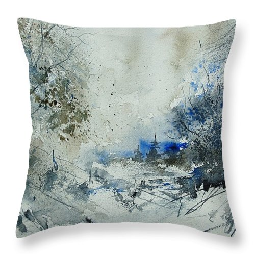Winter Throw Pillow featuring the painting Watercolor 210307 by Pol Ledent