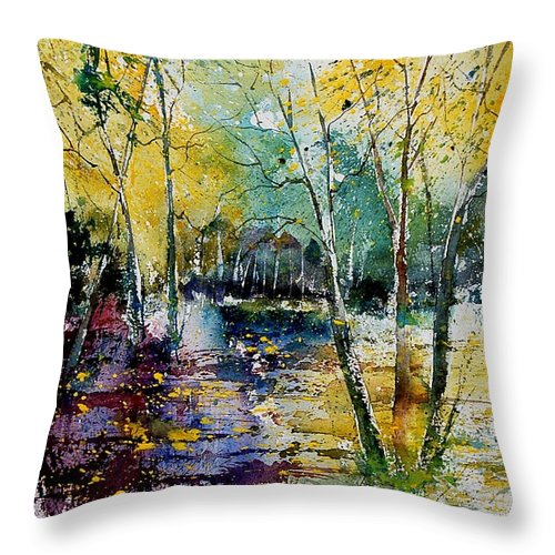 Water Throw Pillow featuring the painting Watercolor 280808 by Pol Ledent