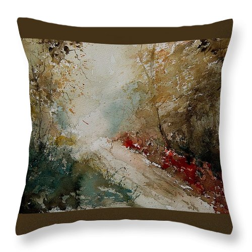 Tree Throw Pillow featuring the painting Watercolor 311005 by Pol Ledent