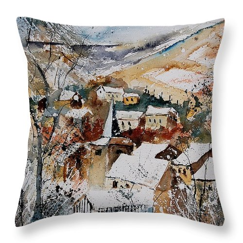 Winter Throw Pillow featuring the painting Watercolor 904002 by Pol Ledent