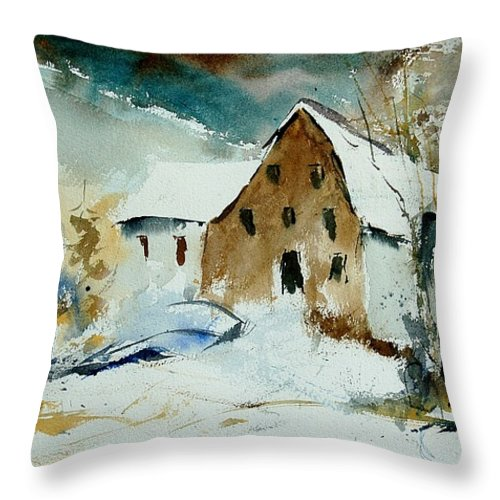 Winter Throw Pillow featuring the painting Watercolor 9696 by Pol Ledent