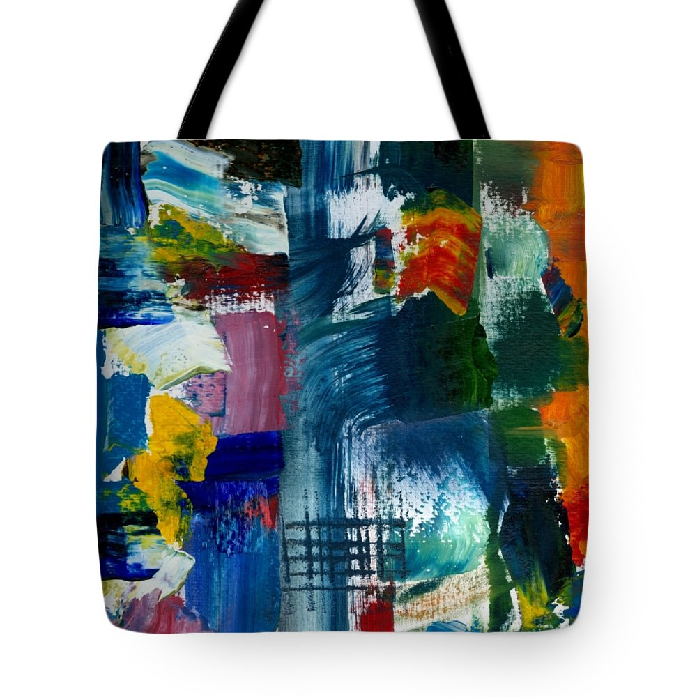 Abstract Collage Tote Bag featuring the painting Abstract Color Relationships L by Michelle Calkins