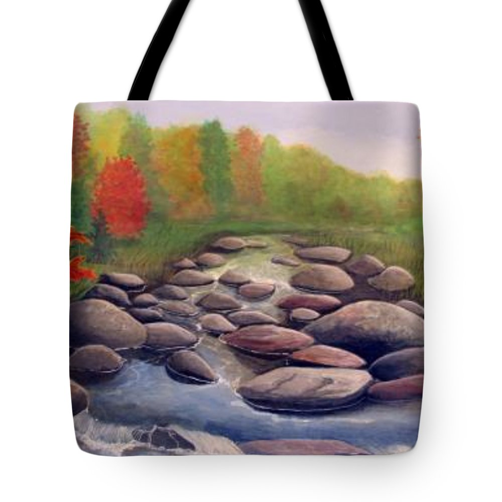 Rick Huotari Tote Bag featuring the painting Cherokee Park by Rick Huotari