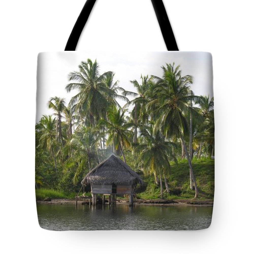 Tropics Water Sepia Bocas Panama Indian Life Palm Trees Island Beach Ngobe Bugle Comarca Cayuco Hut Over Water Tote Bag featuring the photograph Isla Tigre - Hut Over Water And Palm Trees by Elle Nicolai