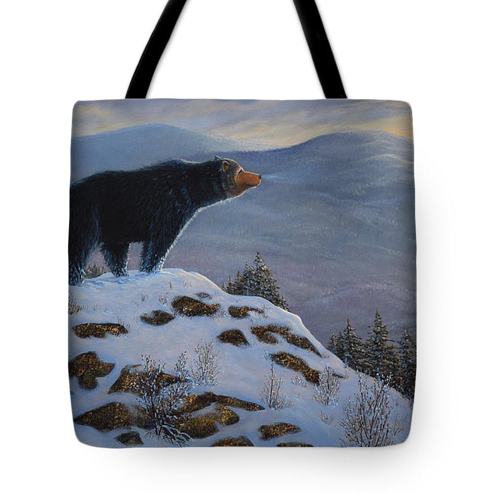 Wildlife Tote Bag featuring the painting Last Look Black Bear by Frank Wilson