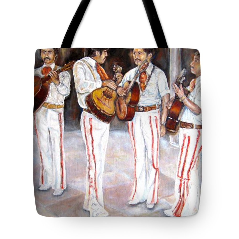 Mariachis Tote Bag featuring the painting Mariachi Musicians by Carole Spandau