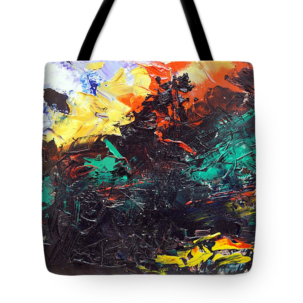 Vision Tote Bag featuring the painting Schizophrenia by Sergey Bezhinets