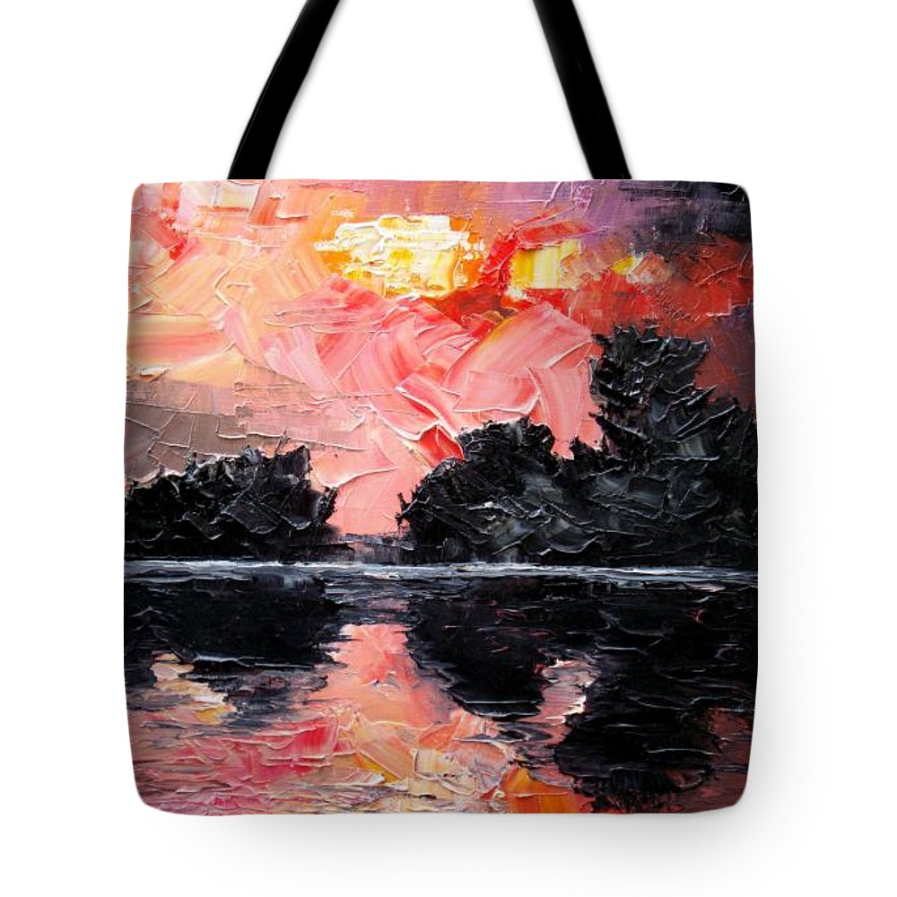 Lake After Storm Tote Bag featuring the painting Sunset. After Storm. by Sergey Bezhinets