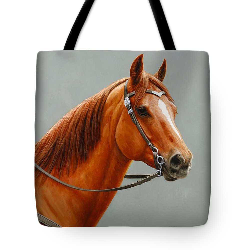 Horse Tote Bag featuring the painting Chestnut Dun Horse Painting by Crista Forest