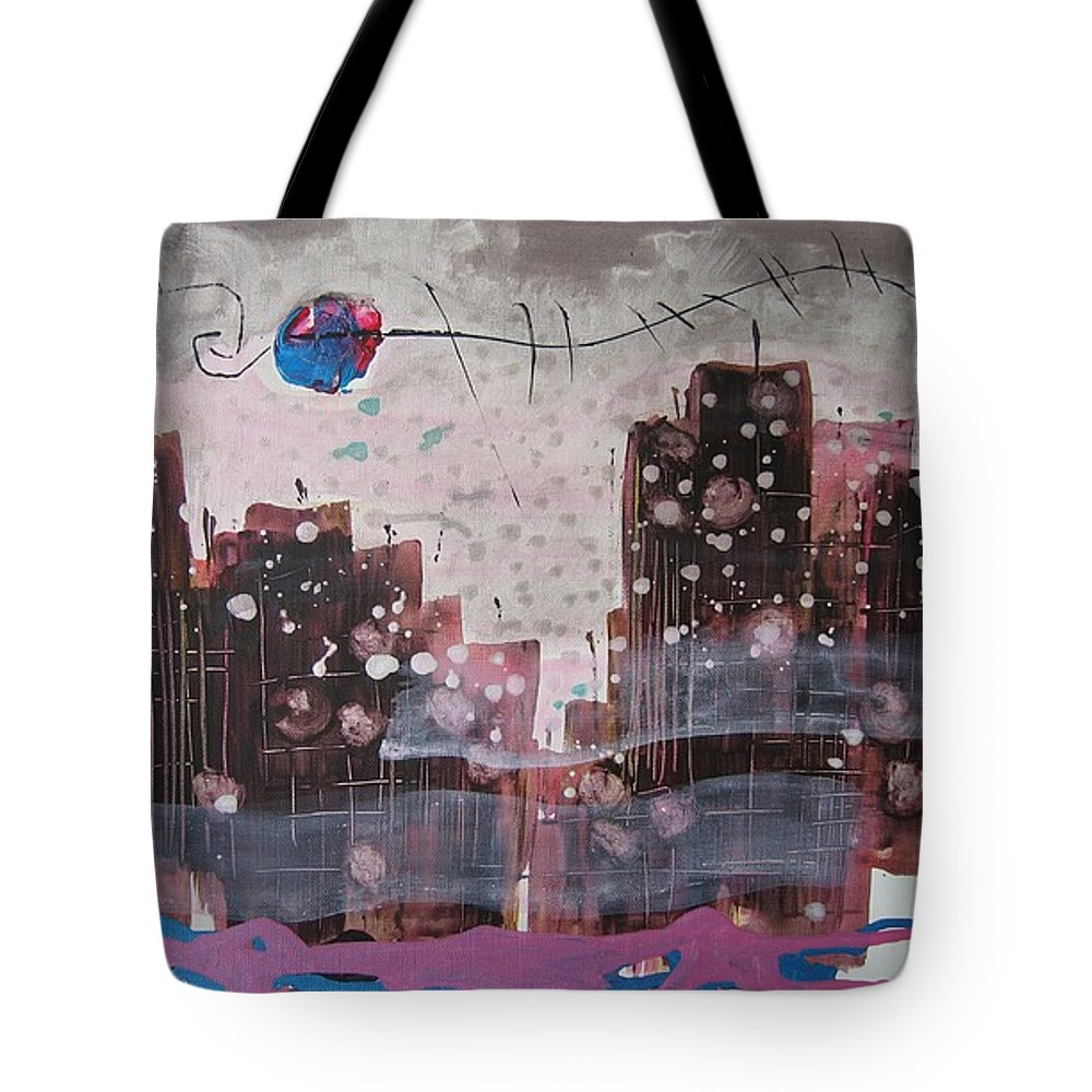 Brown Paintings Tote Bag featuring the painting Cityscape by Seon-Jeong Kim