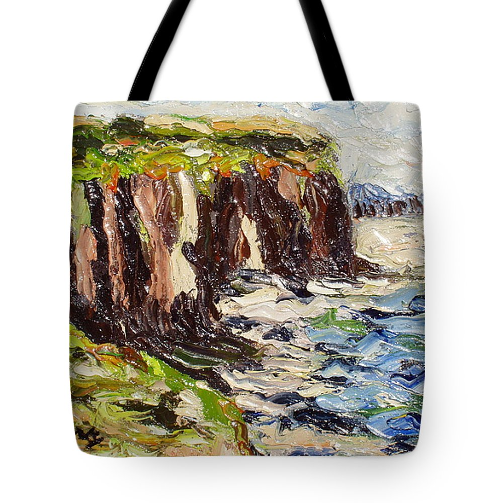 Abstract Paintings Tote Bag featuring the painting Cliff by Seon-Jeong Kim