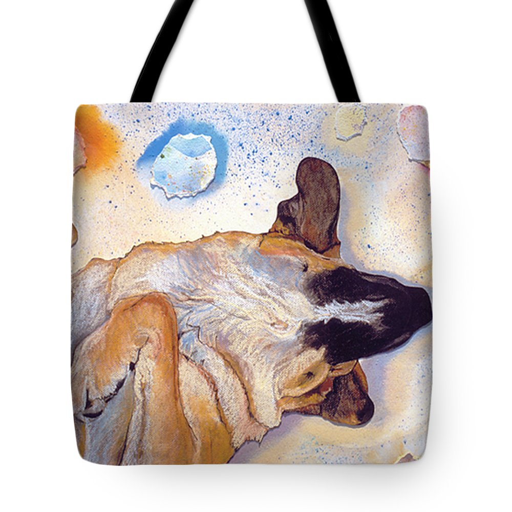 Sleeping Dog Tote Bag featuring the painting Dog Dreams by Pat Saunders-White