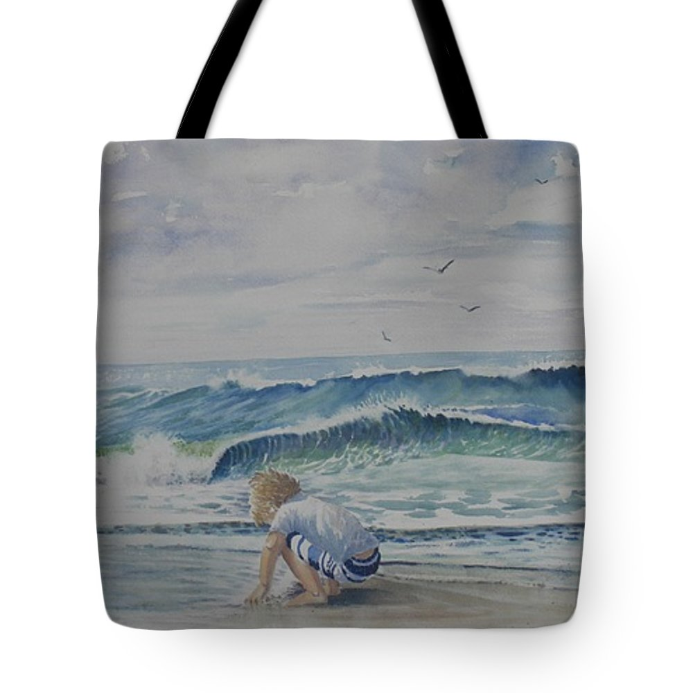 Ocean Tote Bag featuring the painting Finding Sand Crabs by Tom Harris
