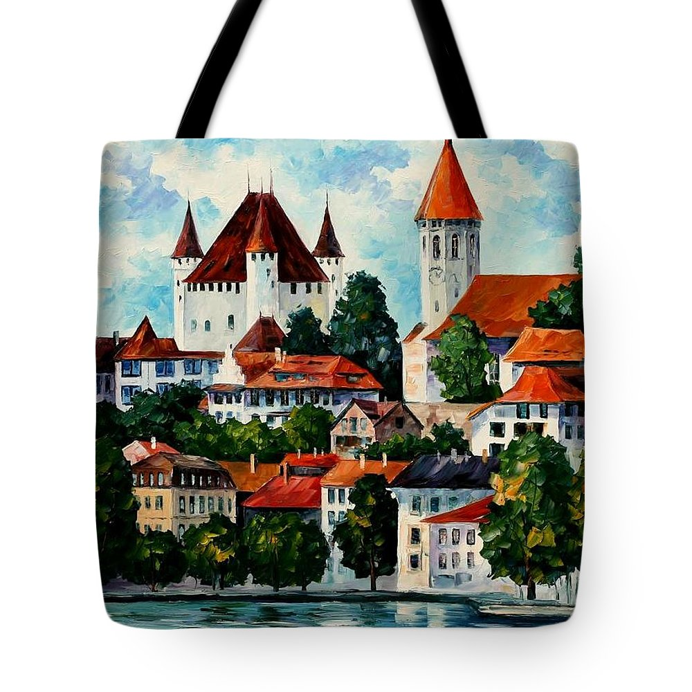 Afremov Tote Bag featuring the painting Germany - Clouds Above The Rhine by Leonid Afremov