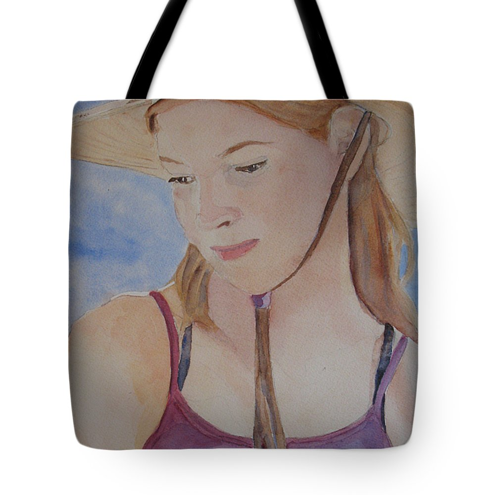 Girl Tote Bag featuring the painting Hat And Shoulders by Jenny Armitage