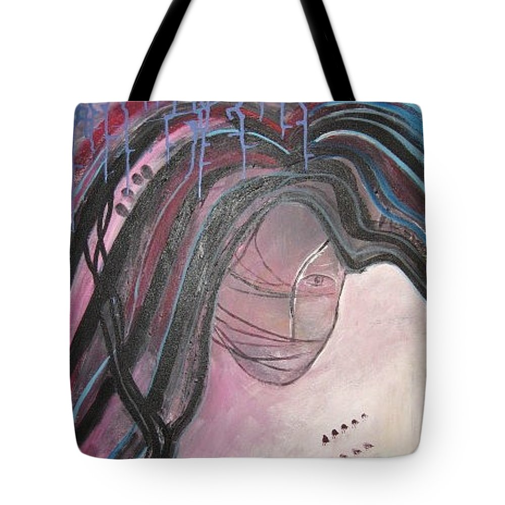 Abstract Paintings Tote Bag featuring the painting I by Seon-Jeong Kim