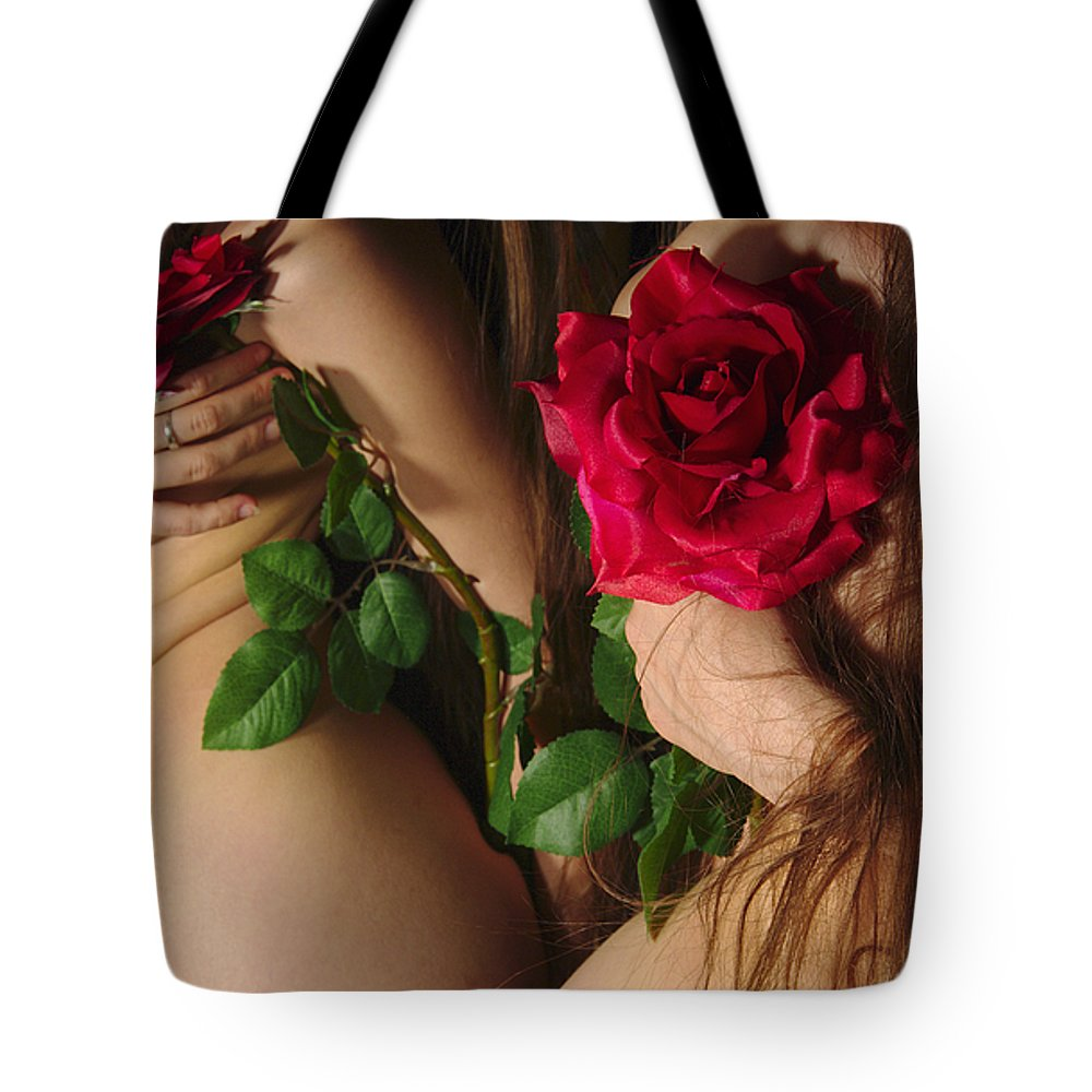 Female Nude Abstract Mirrors Flowers Tote Bag featuring the photograph Kazi0813 by Henry Butz