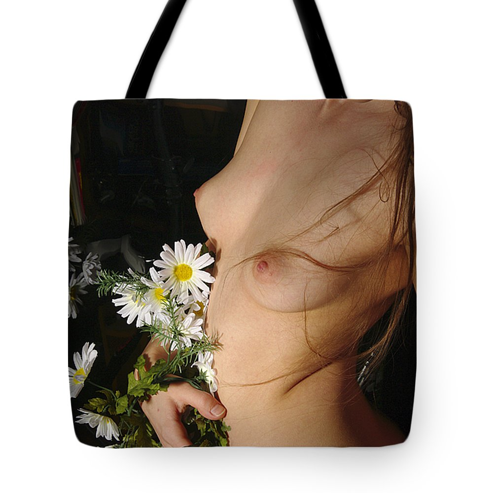 Female Nude Abstract Mirrors Flowers Tote Bag featuring the photograph Kazi0842 by Henry Butz