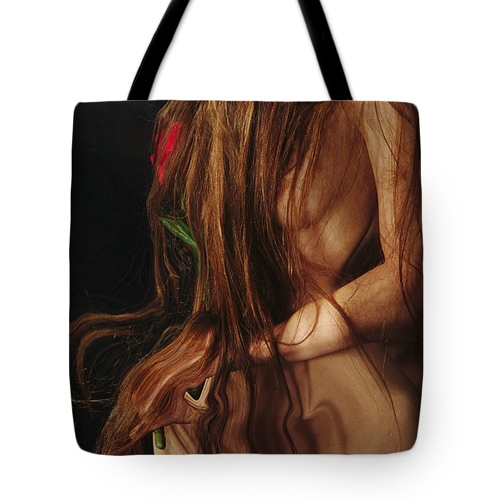 Female Nude Abstract Mirrors Flowers Photographs Tote Bag featuring the photograph Kazi1182 by Henry Butz