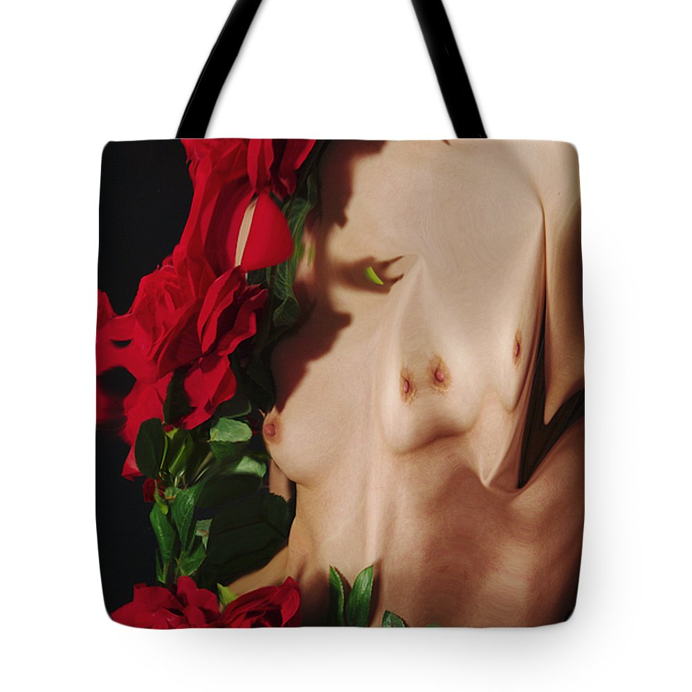 Female Nude Abstract Mirrors Flowers Photographs Tote Bag featuring the photograph Kazi1188 by Henry Butz