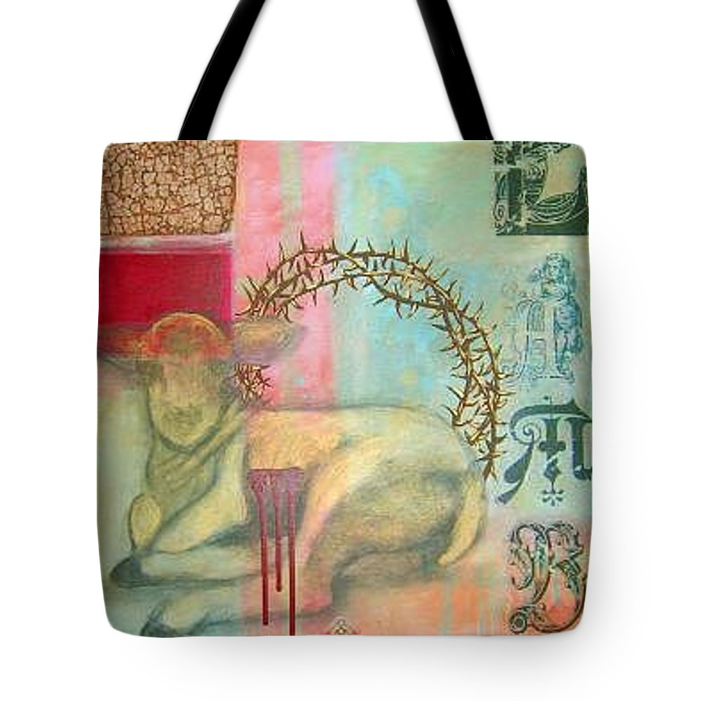 Lamb Of God Tote Bag featuring the painting Lamb Of God by Teresa Carter