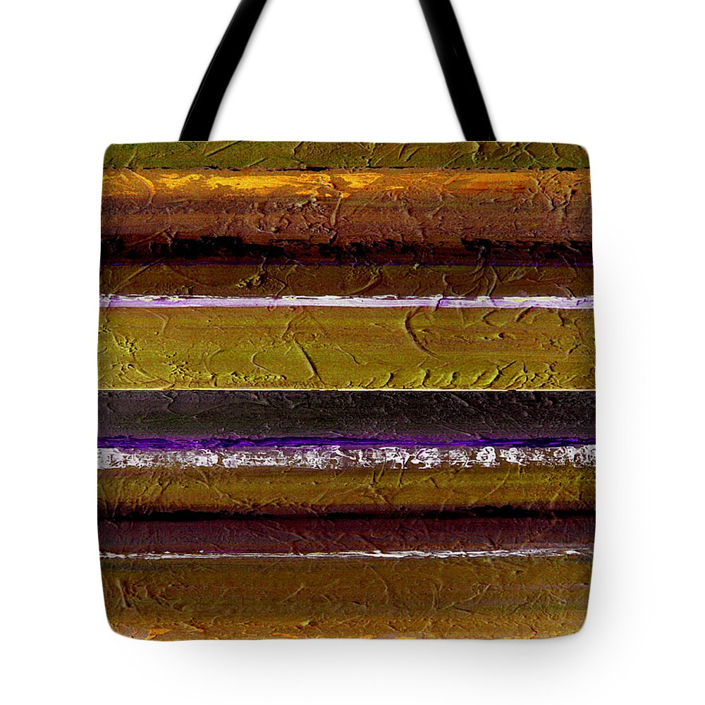 Abstract Tote Bag featuring the painting Lined Up by Ruth Palmer