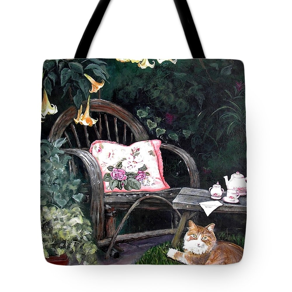 Charity Tote Bag featuring the painting My Secret Garden by Mary-Lee Sanders
