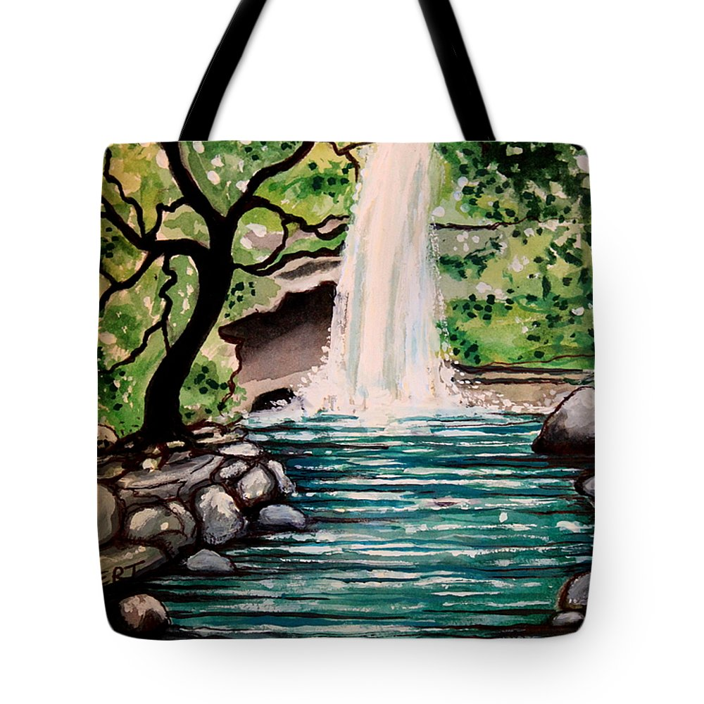 Tropical Tote Bag featuring the painting Mystical Waterfall by Elizabeth Robinette Tyndall